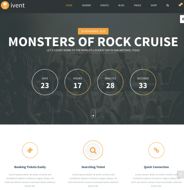 Homepage of Ivent theme