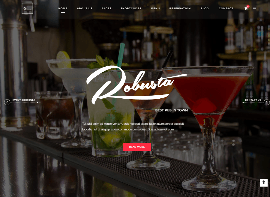 Homepage of Robusta theme