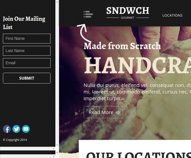 Homepage of SNDWCH