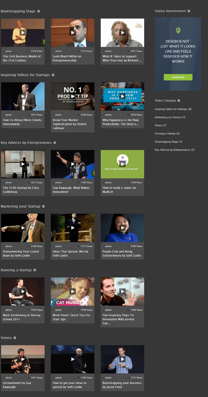 Homepage of VideoCraft theme