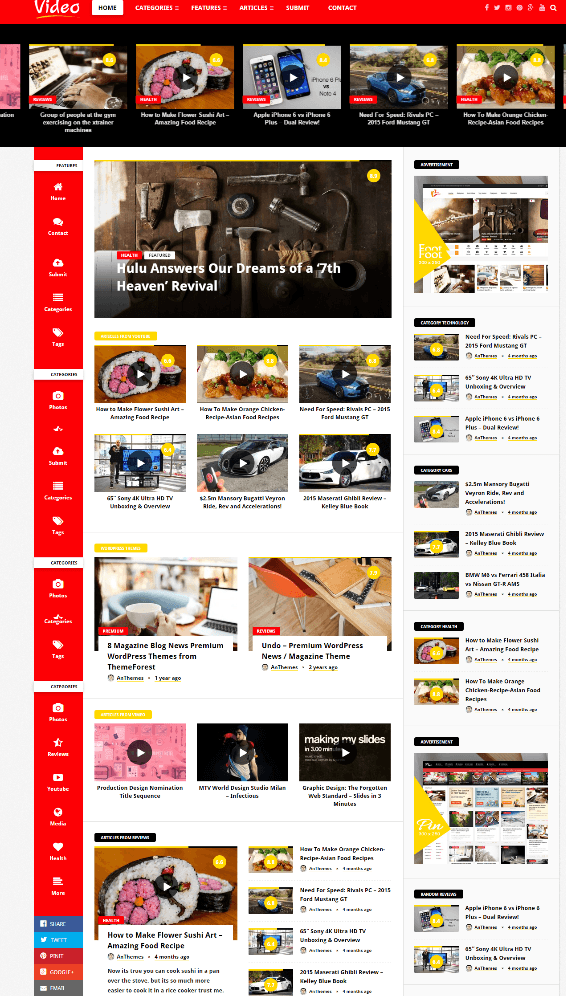 Homepage of Videonews theme
