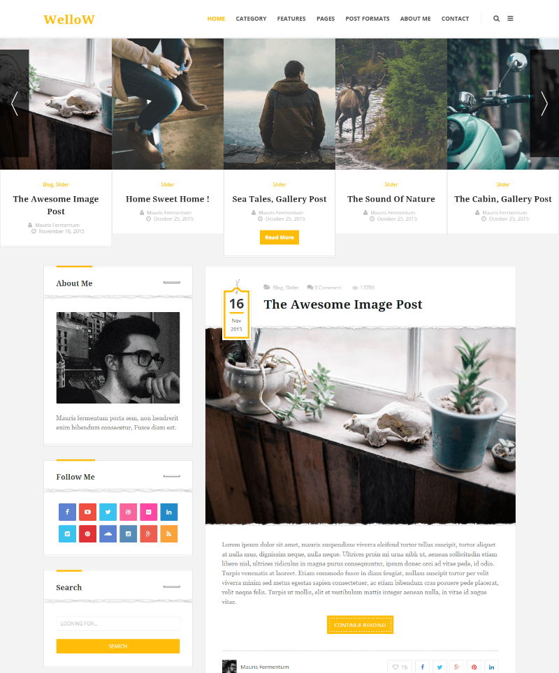Homepage of Wellow theme