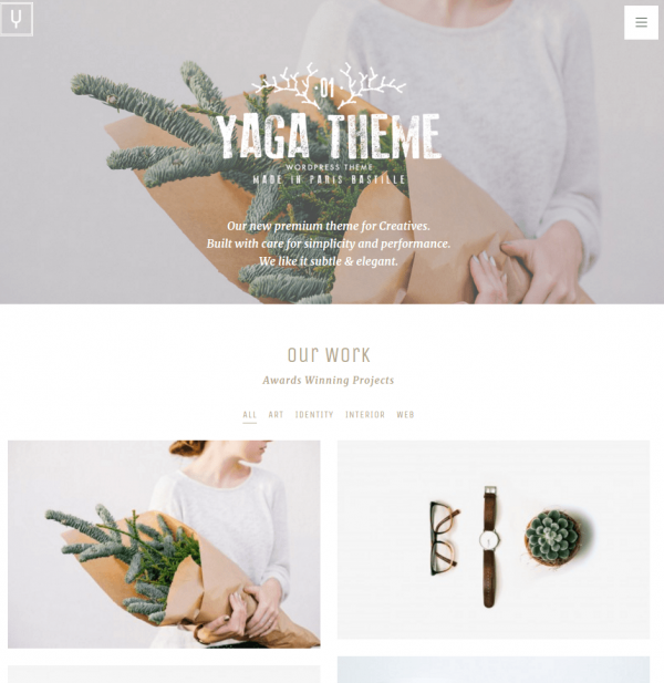 Homepage of Yaga WordPress