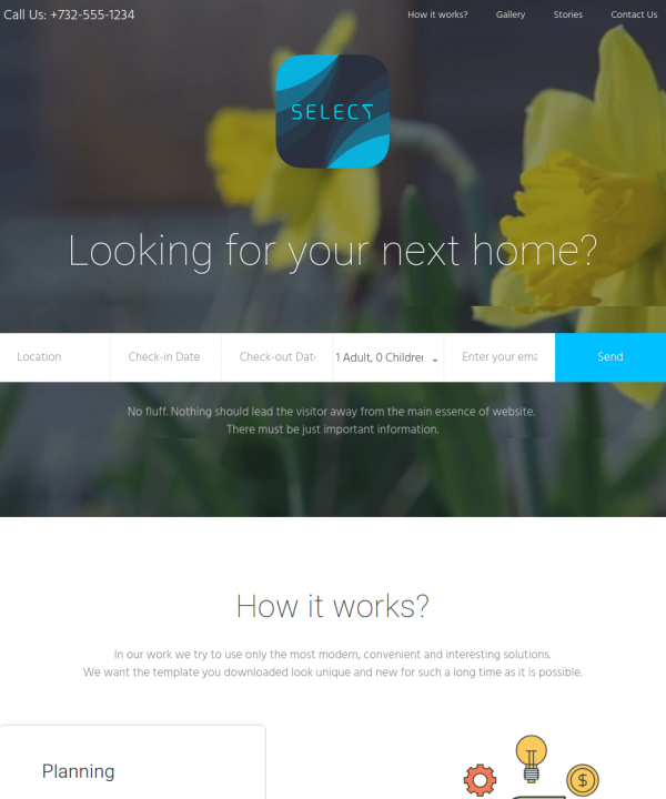 Homepage of select theme