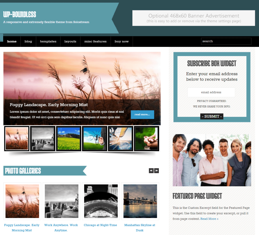 Homepage of WP-Boundless theme