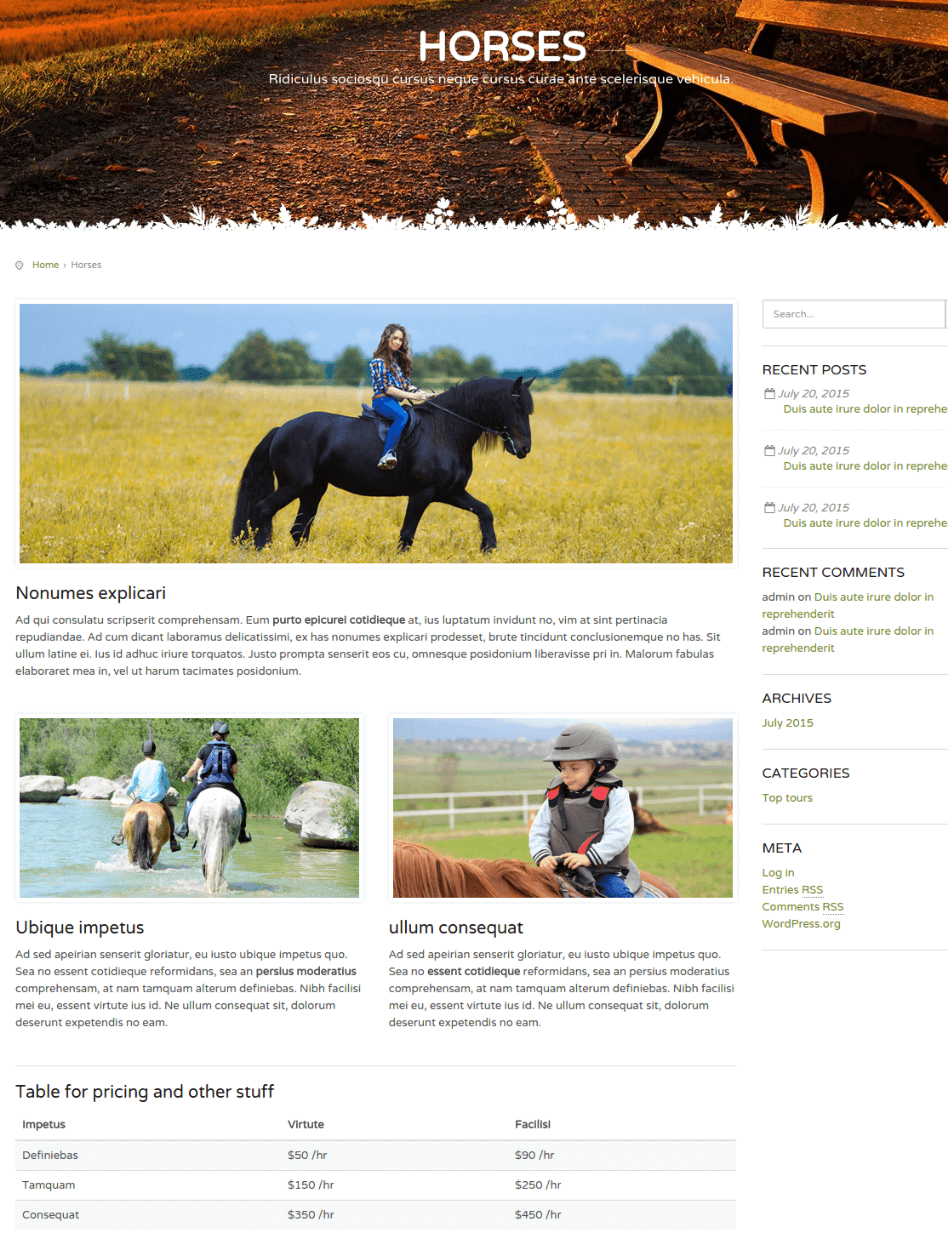 Horses Page - CountryHolidays