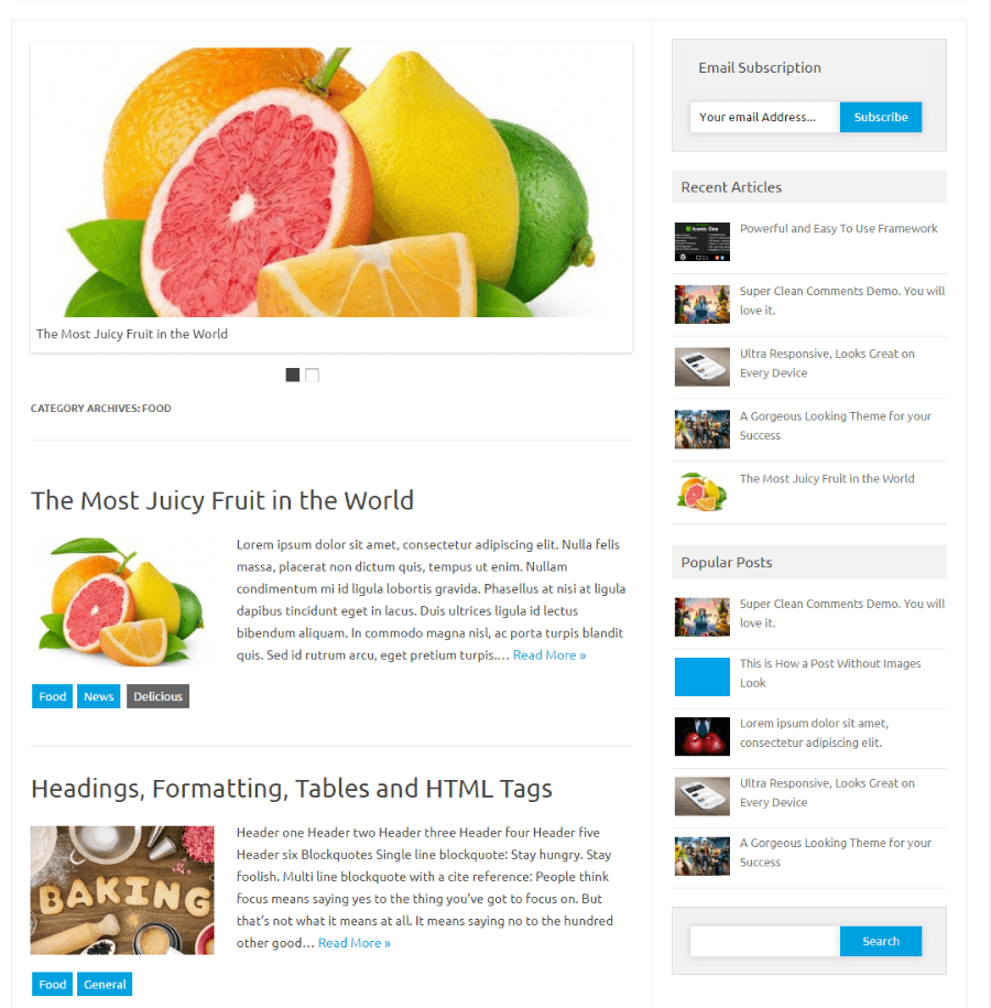 Iconic One Pro page (Food category)