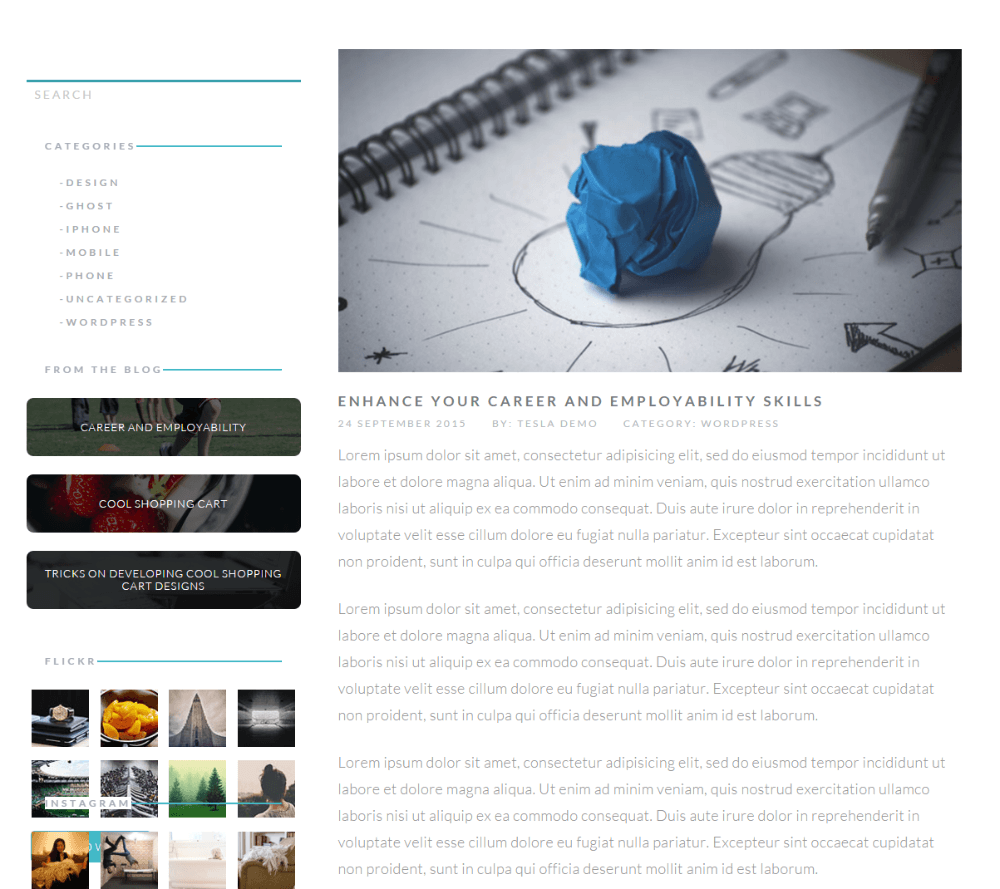 Levelup theme -Blog page with left sidebar