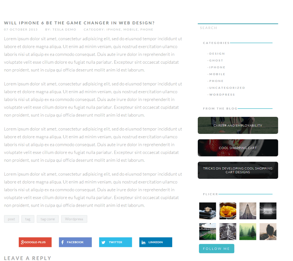 Levelup theme - Blog page with right sidebar