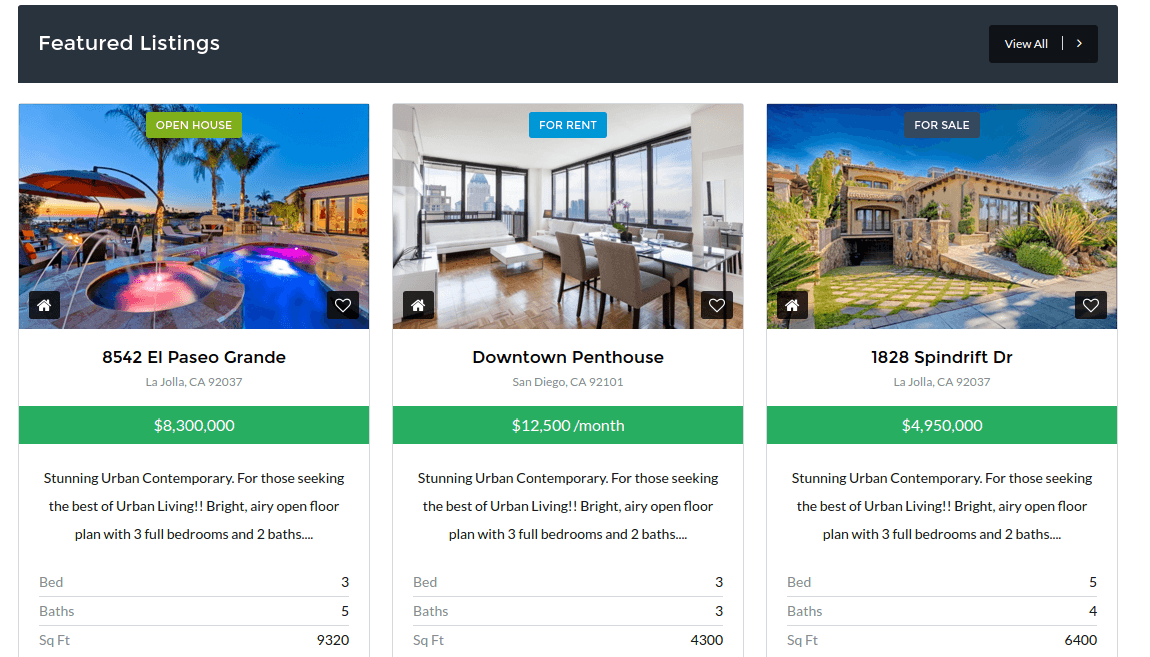 Listing page of real estate