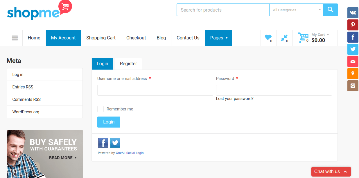 Login page of ShopMe
