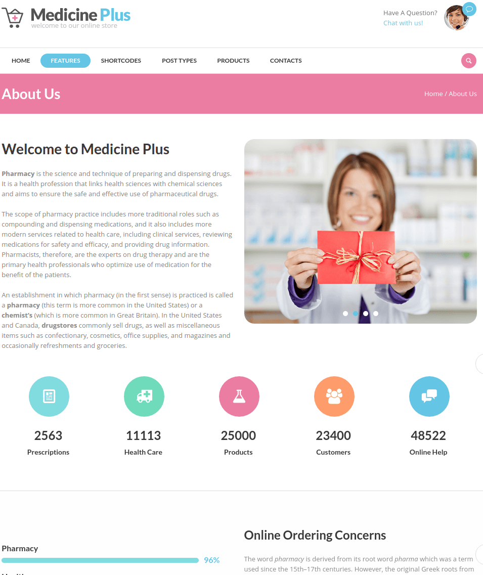 Medicine plus Theme About pages