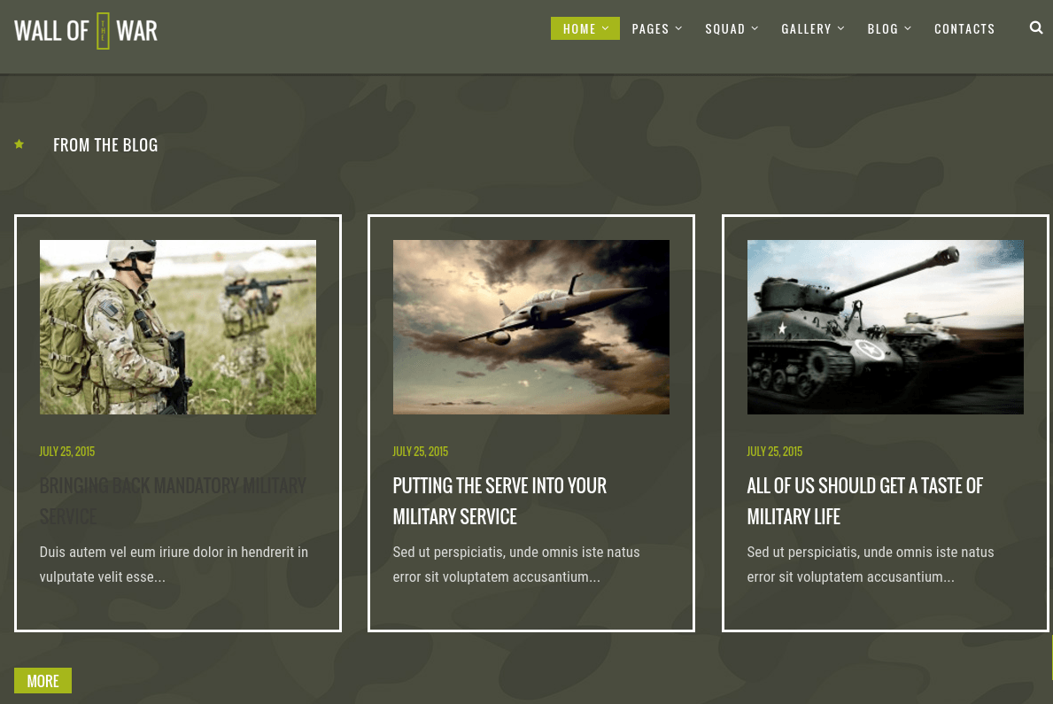 Military Blog Section