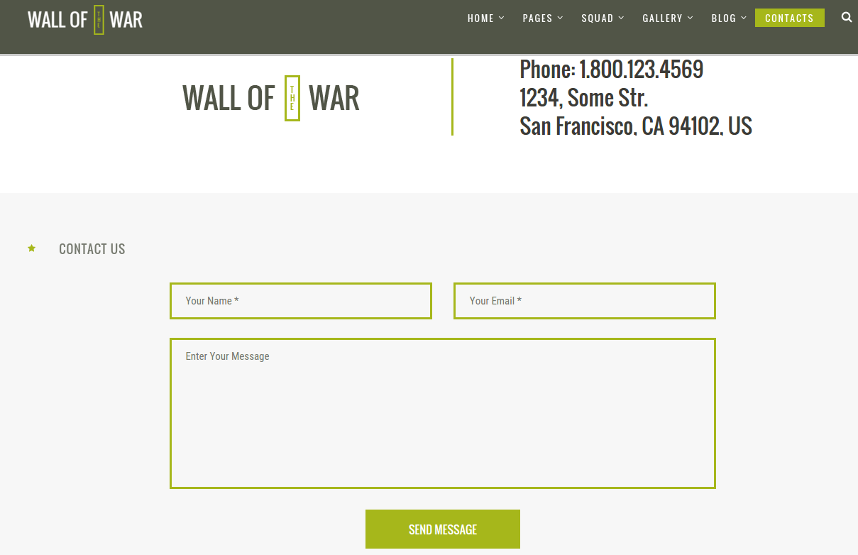 Military Contact Page