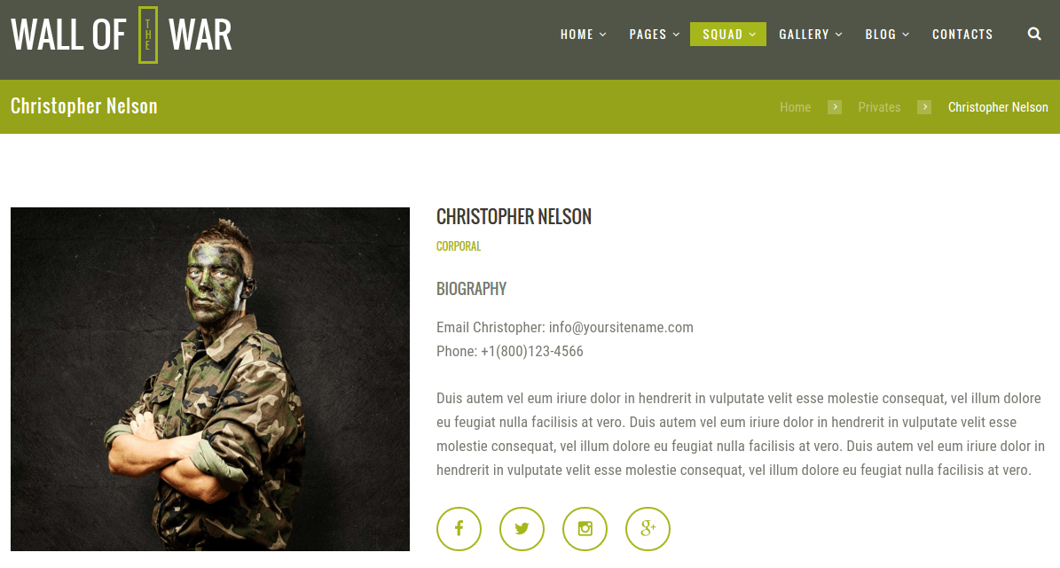 Military Team Member Page