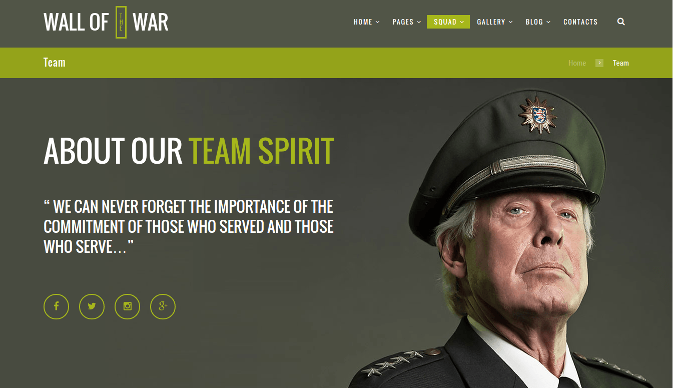 Military Team Page