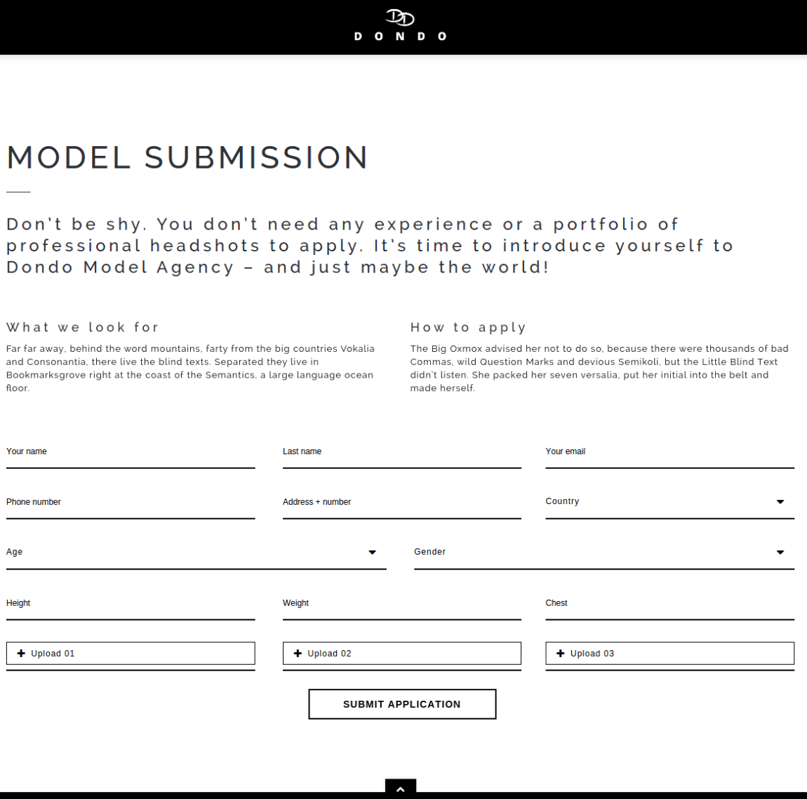 Model Submission Form - DONDO