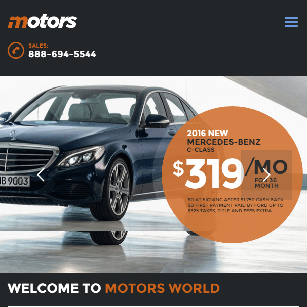 Motors - car and dealership WP theme