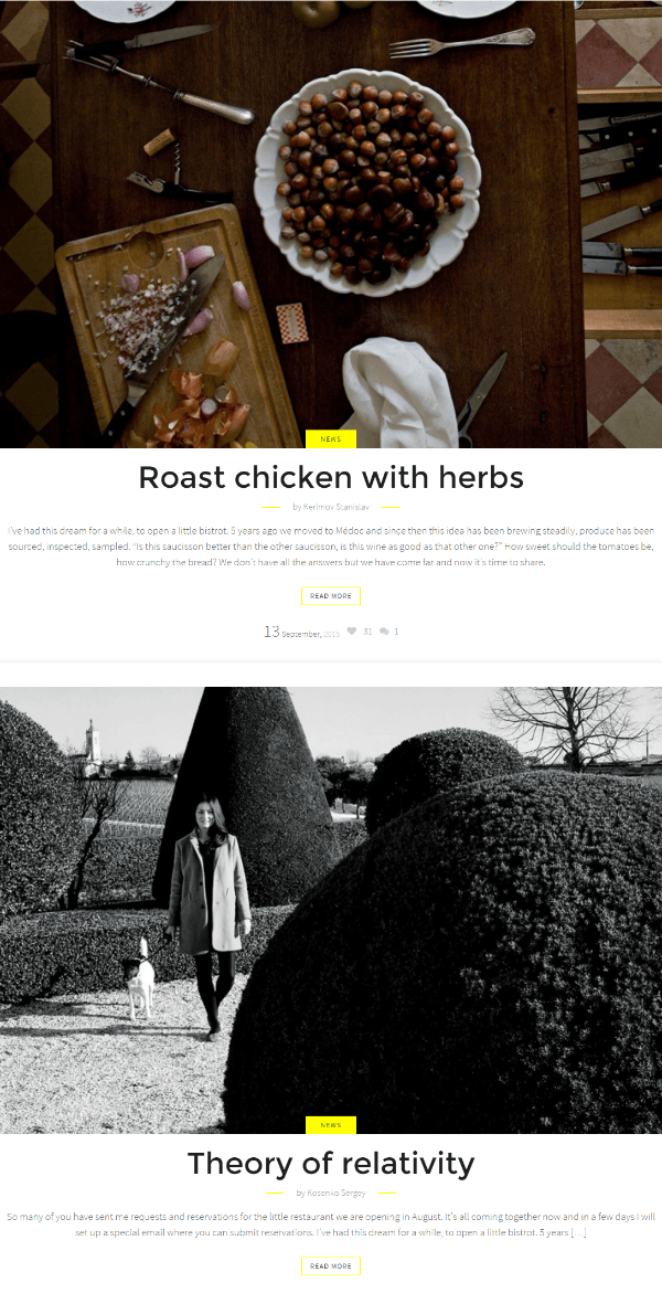 News page of Cook Traveler theme