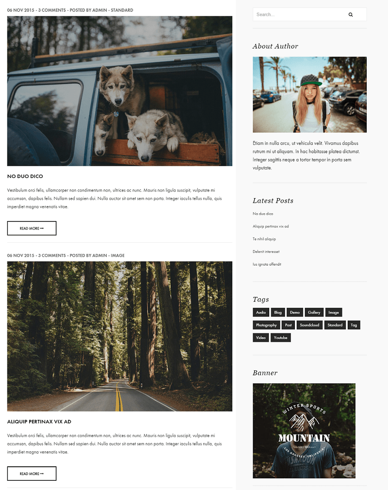 Outdoor - Page with right sidebar