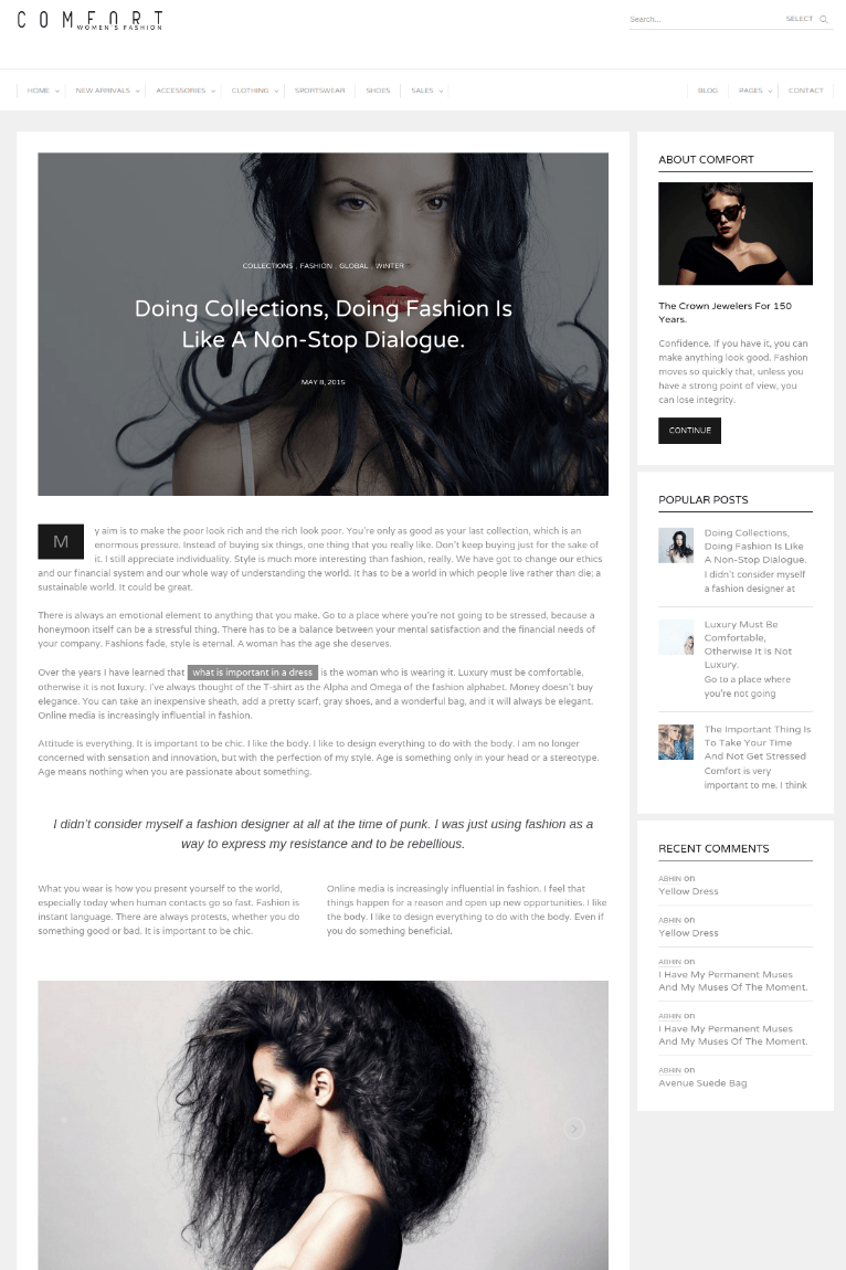 Page with Right sidebar - Comfort