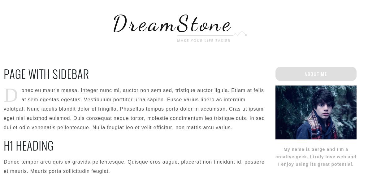 Page with sidebar of DreamStone