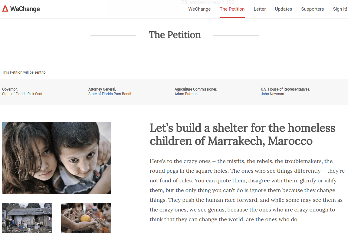 Petition WeChange The Petition Page