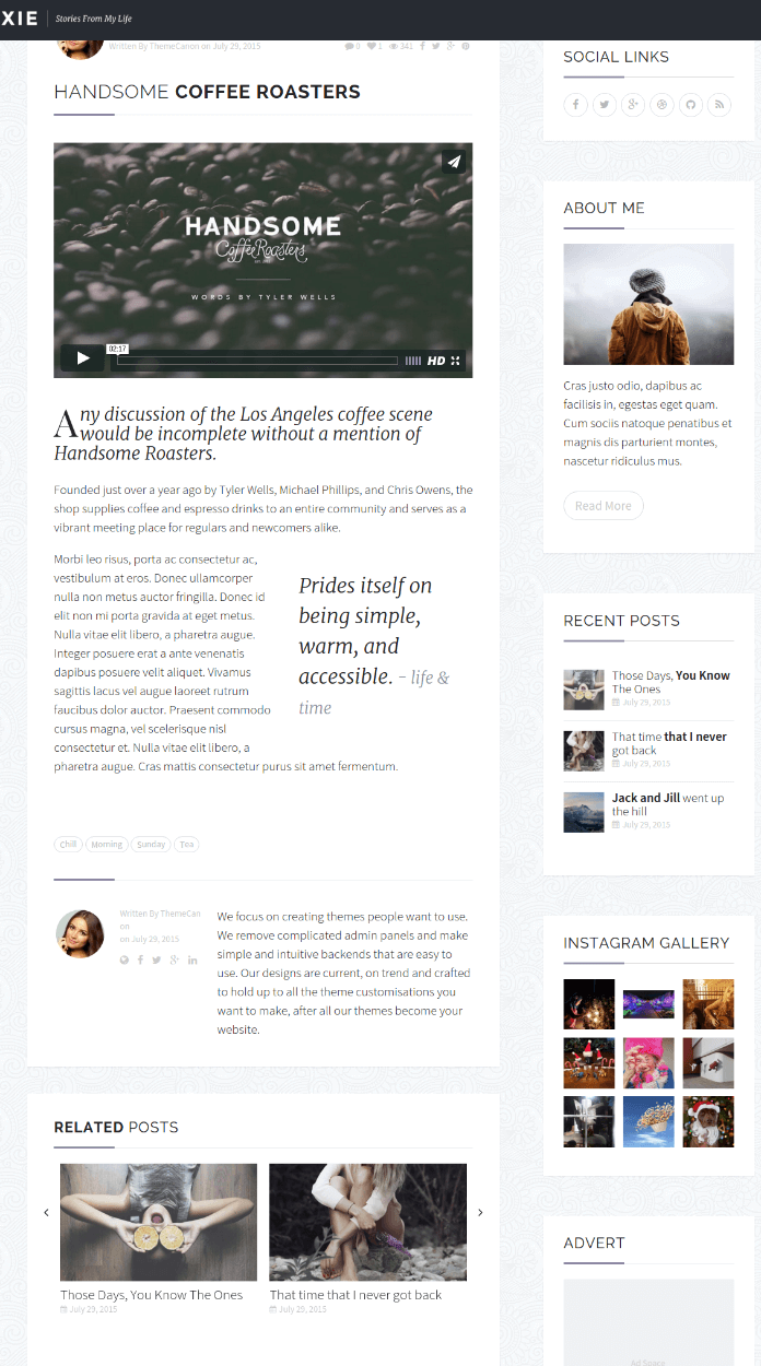 Posts with sidebar Page - Oxie
