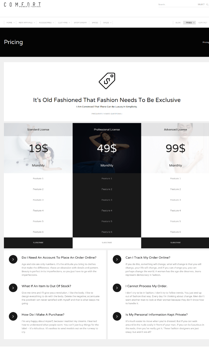 Pricing Page - Comfort
