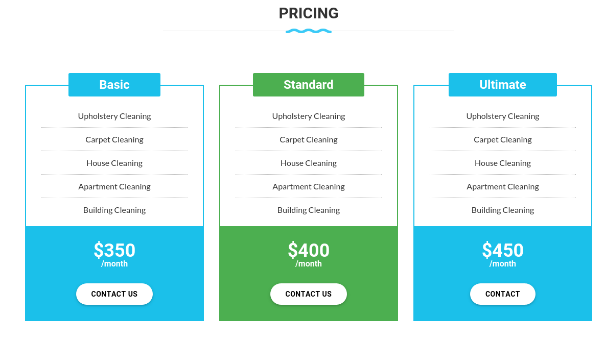 Pricing Section of Cleaning