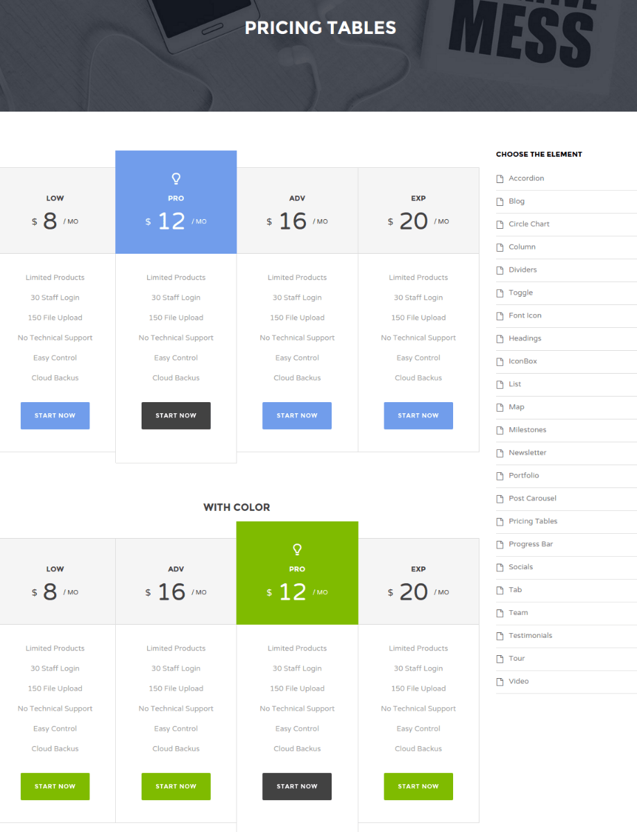 Pricing Table Page - Tweeco