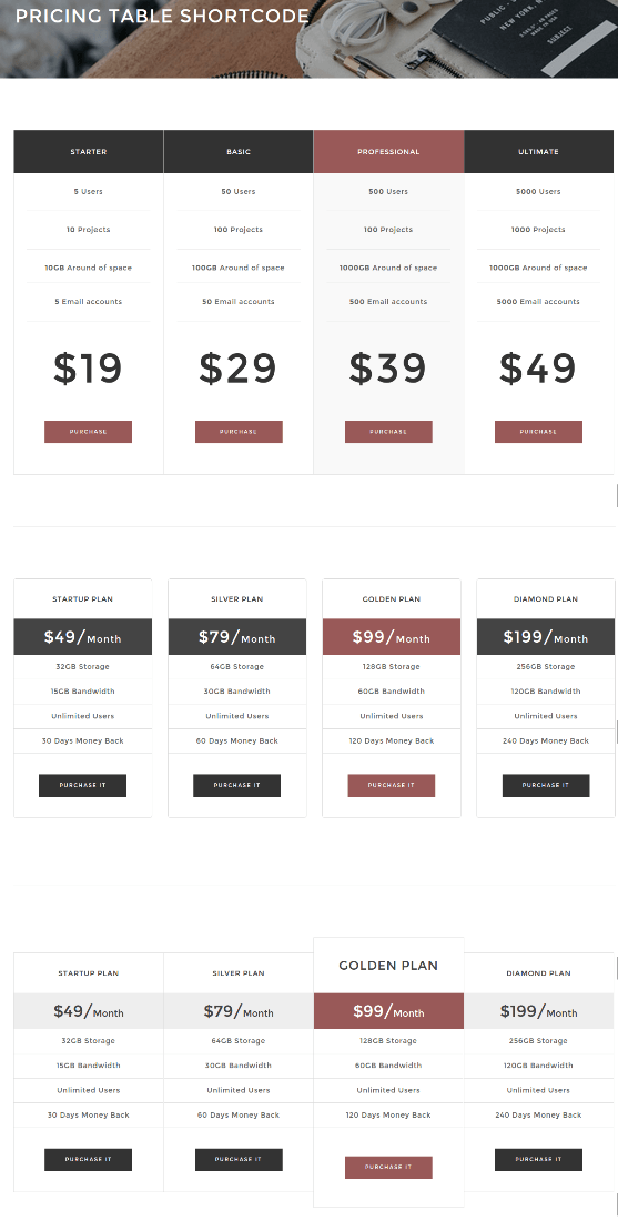 Pricing Table - Wolverine