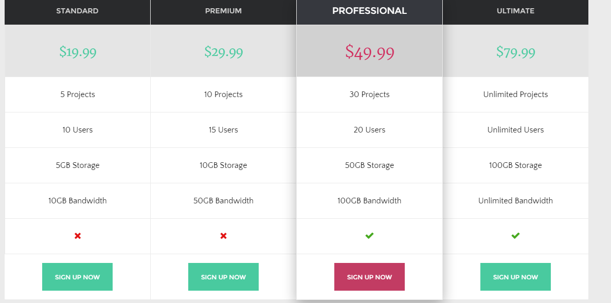 Pricing of The Core theme