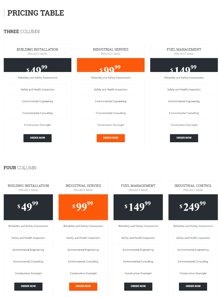 Pricing page of Bizspeak theme