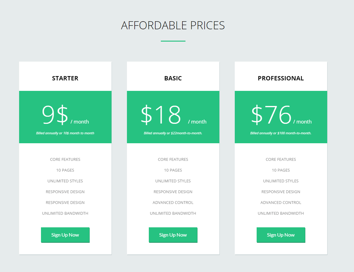 Pricing page of FlatApp theme
