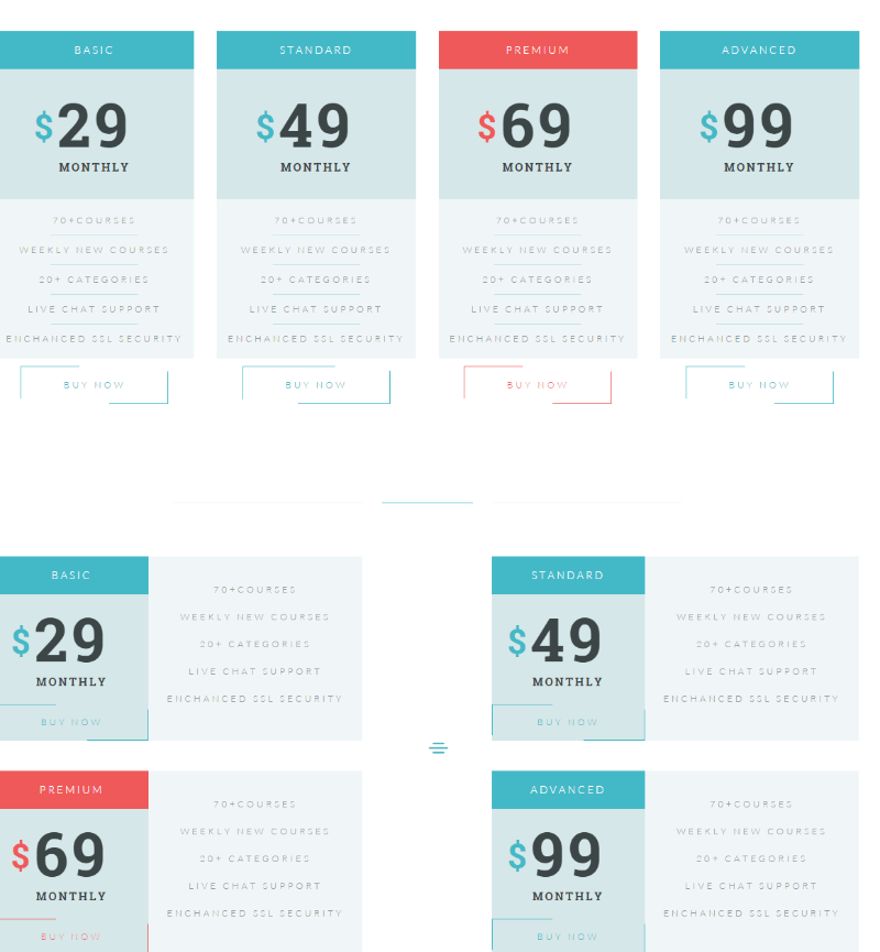 Pricing page of Levelup theme