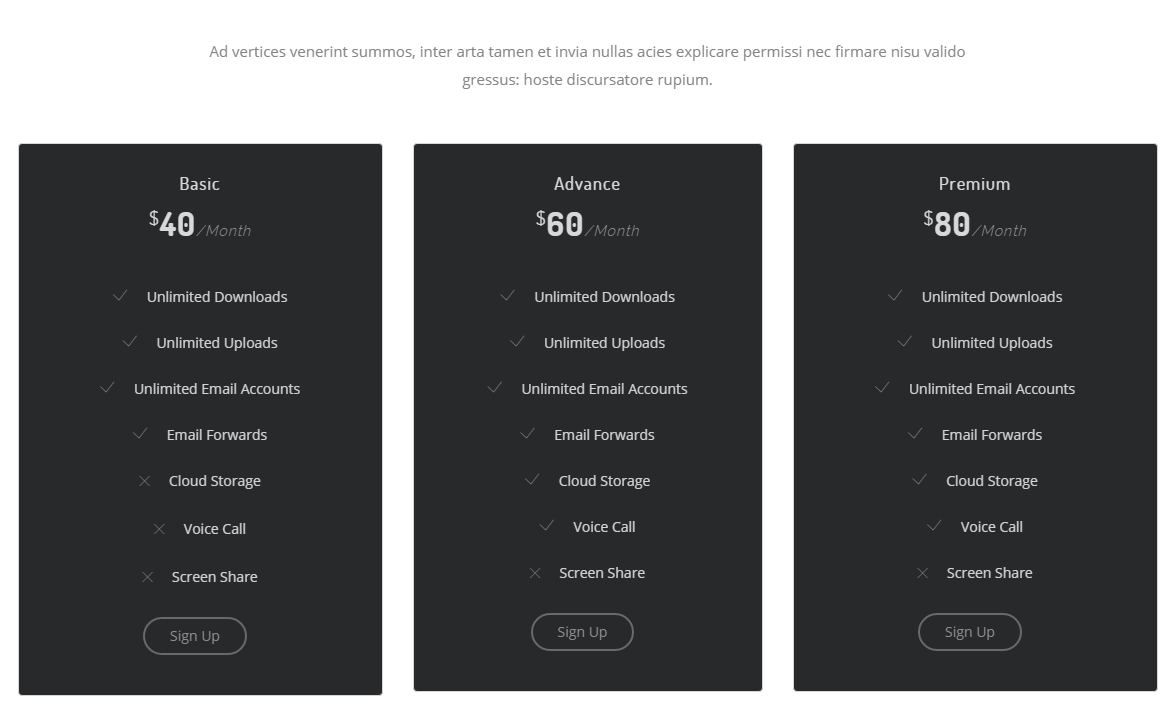 Pricing page of Make theme
