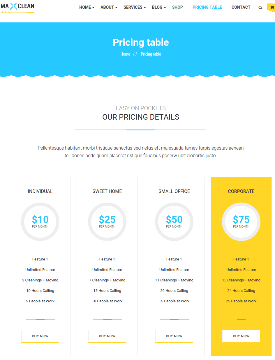 Pricing page of Max cleaner and Movers
