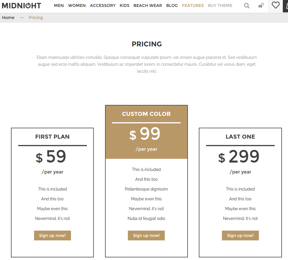 Pricing page of Midnight