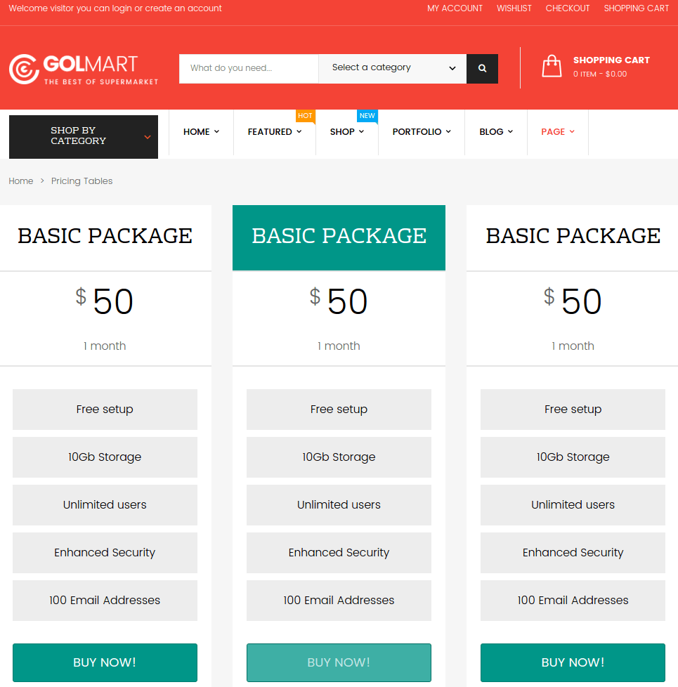 Pricing table of Golmart