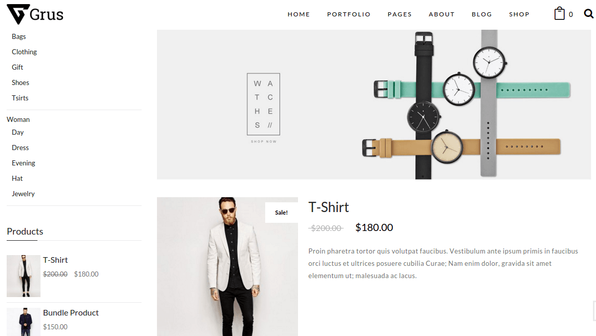 Product page of Grus