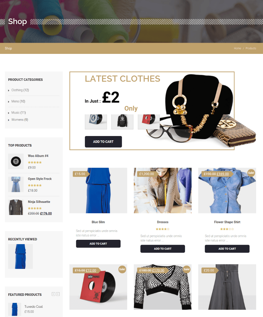 Products Page - Alteration Shop