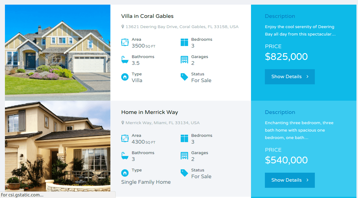 Property page of Real places