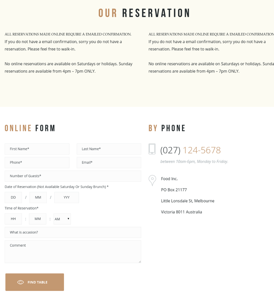 Reservation Page - Gourmet