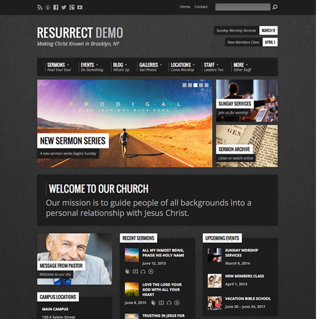 Resurrect - WordPress theme for creating church websites