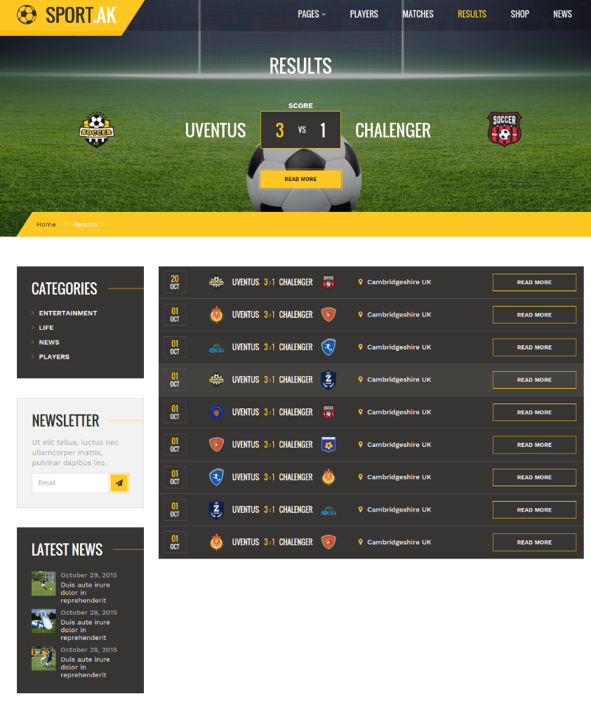 Results Page - Sport