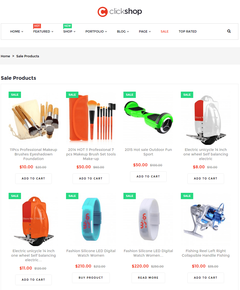 Sale page of Clickshop