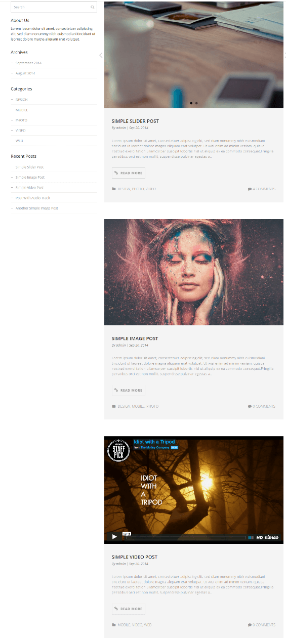 Selfie - Blog page with left sidebar