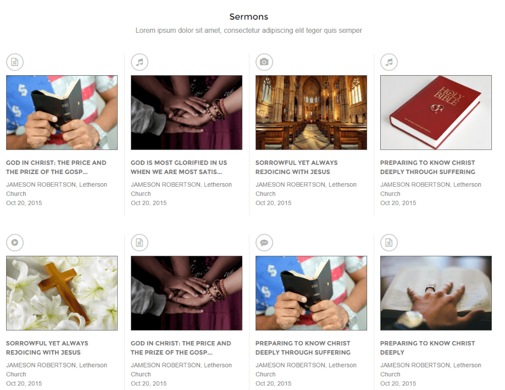 Sermons page of Credo theme