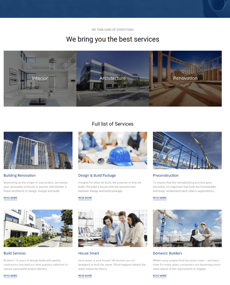 Services Page - Builder